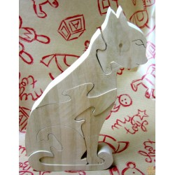 Puzzle en bois massif, le chat assis